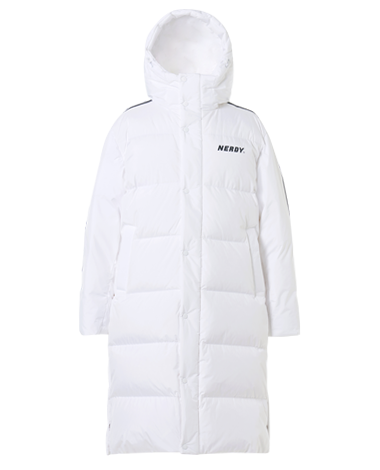 NY Track Long Down Jacket White