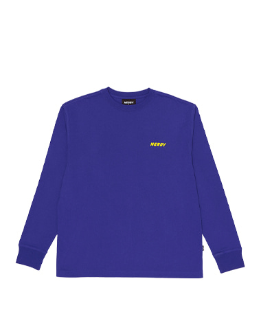 Typo Long Sleeve T-shirt Blue