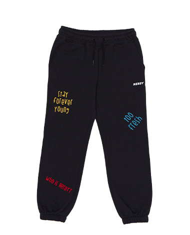 Chain Stitch Sweatpants Black